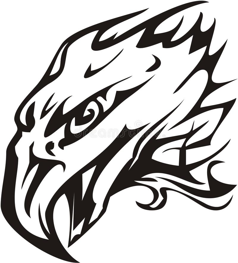 Eagle head symbol in tribal style royalty free illustration