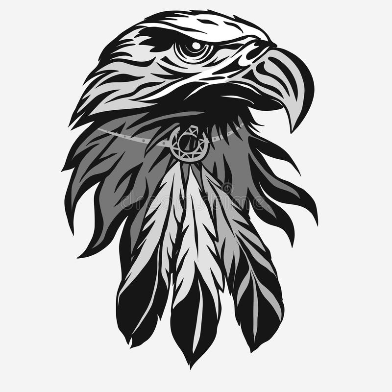 Eagle head with Tribal Feathers vector stock illustration