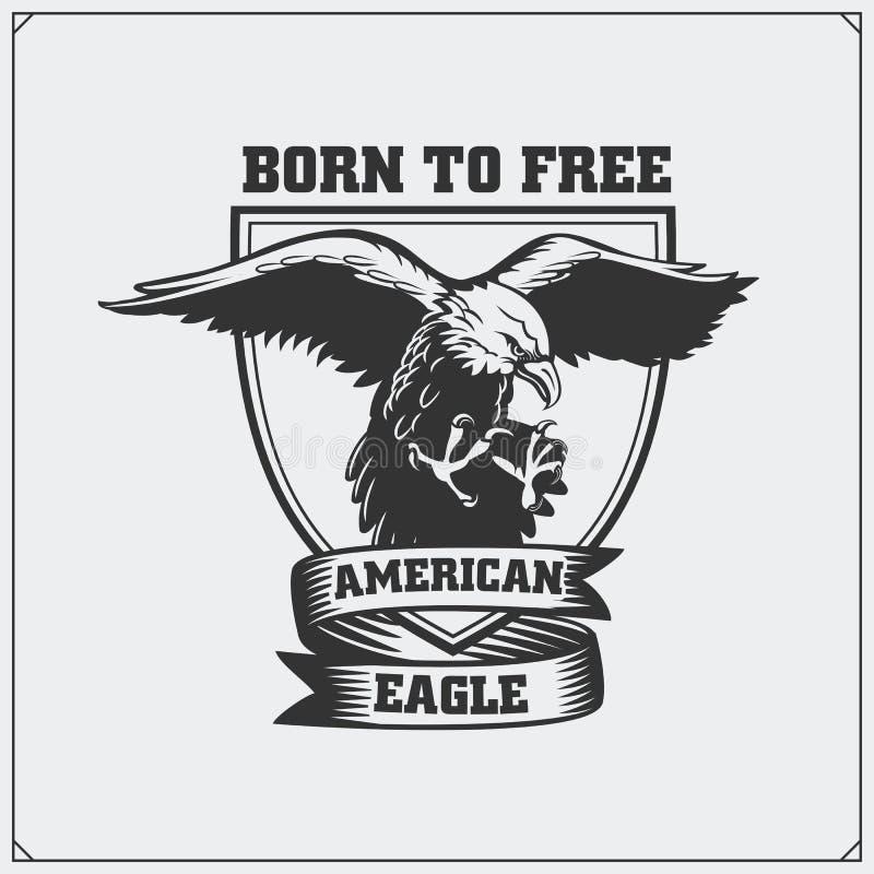 Eagle Heraldry Coat van Wapens Embleem voor sportclub stock illustratie