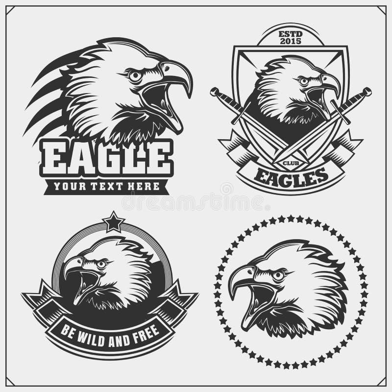 Eagle Heraldry Coat van Wapens Etiketten, emblemen en ontwerpelementen voor sportclub vector illustratie