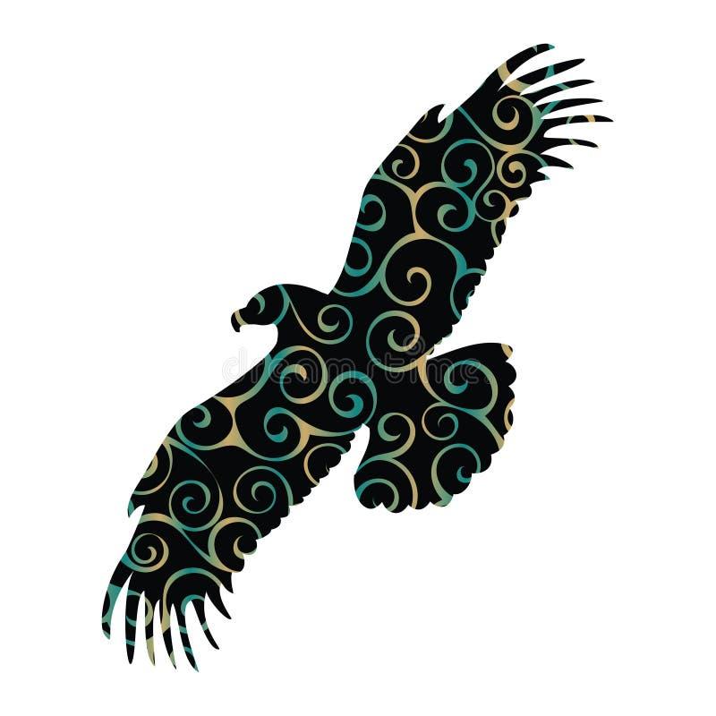 Eagle-het silhouetdier van de vogelkleur vector illustratie