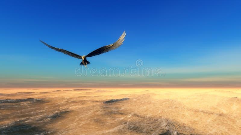 Eagle-het vliegen stock illustratie