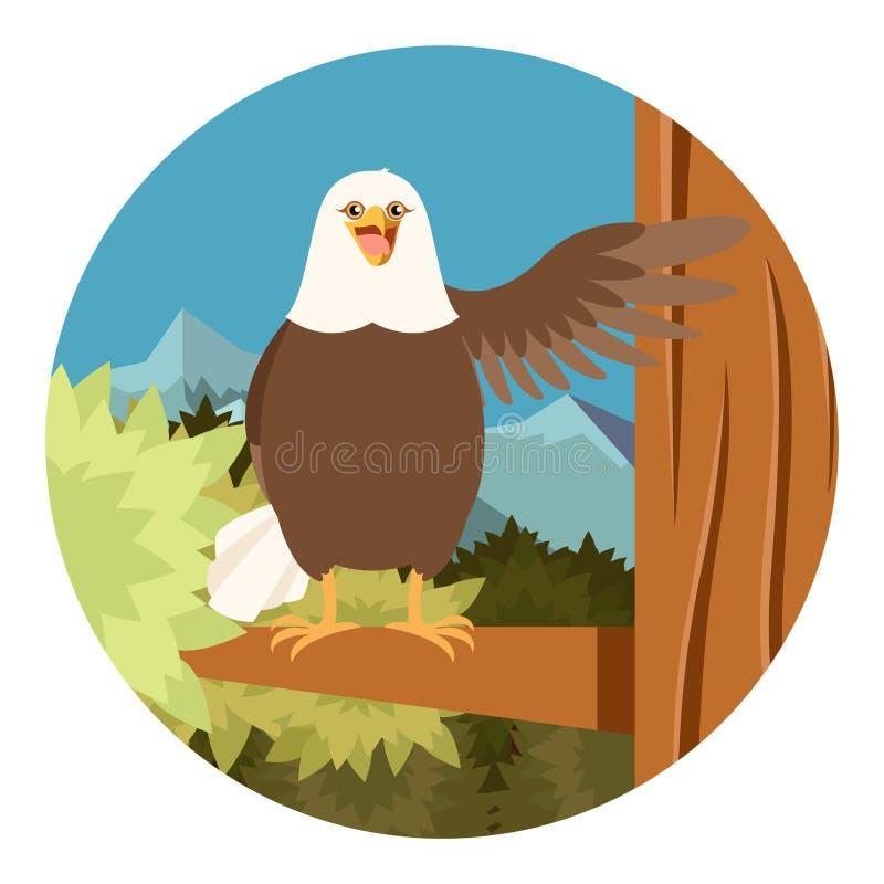 Eagle heureux sur le fond plat d'arbre illustration stock