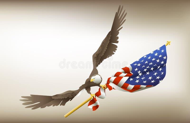 Eagle Holding Flag stock illustratie