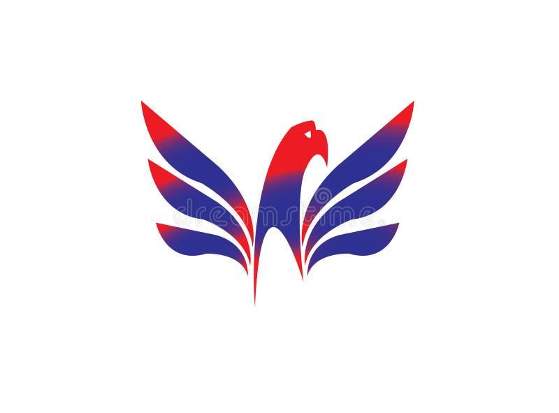 Eagle huvud med den öppna vingslogan för logodesign royaltyfri illustrationer