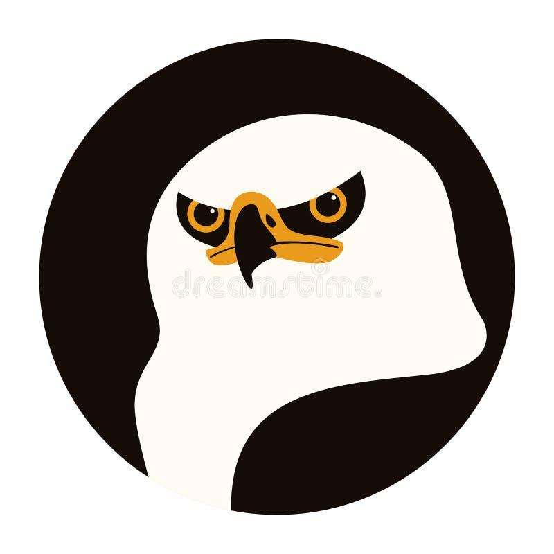 Eagle huvud, vektorillustration, plan stil, framdel vektor illustrationer