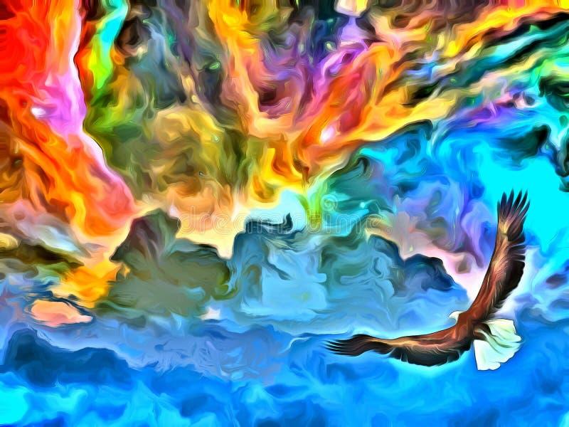 Eagle, i att måla för himlar royaltyfri illustrationer
