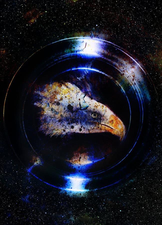 Eagle i kosmiskt utrymme och ljus cirkel original- målningcollage Djurt begrepp, profilstående Blått färgar stock illustrationer