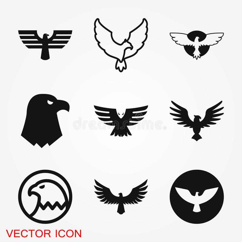 Eagle Icon Mall för logodesignvektor, plan symbol stock illustrationer