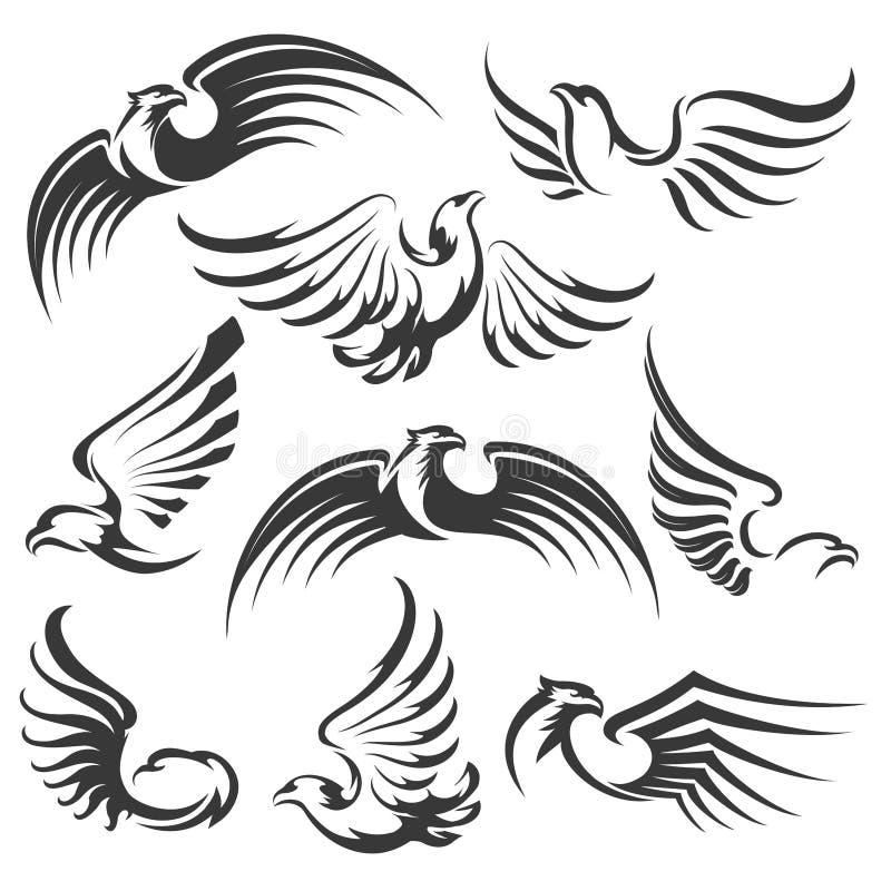Eagle ikony set royalty ilustracja