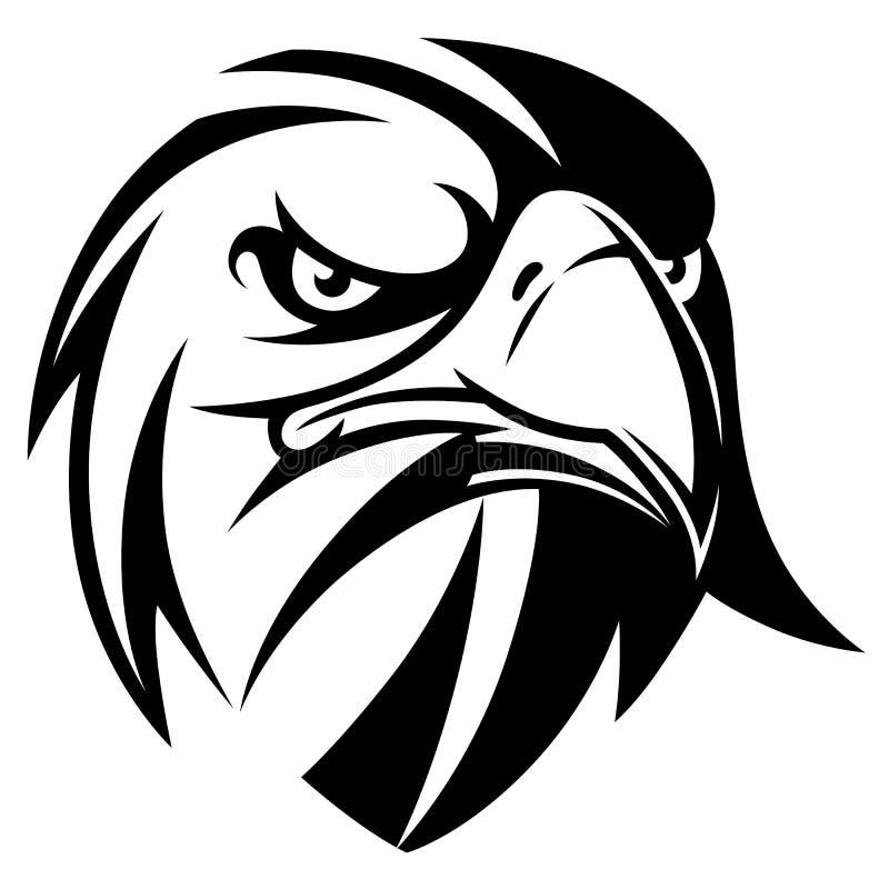 Eagle kierowniczy czarny i biały ilustracja wektor