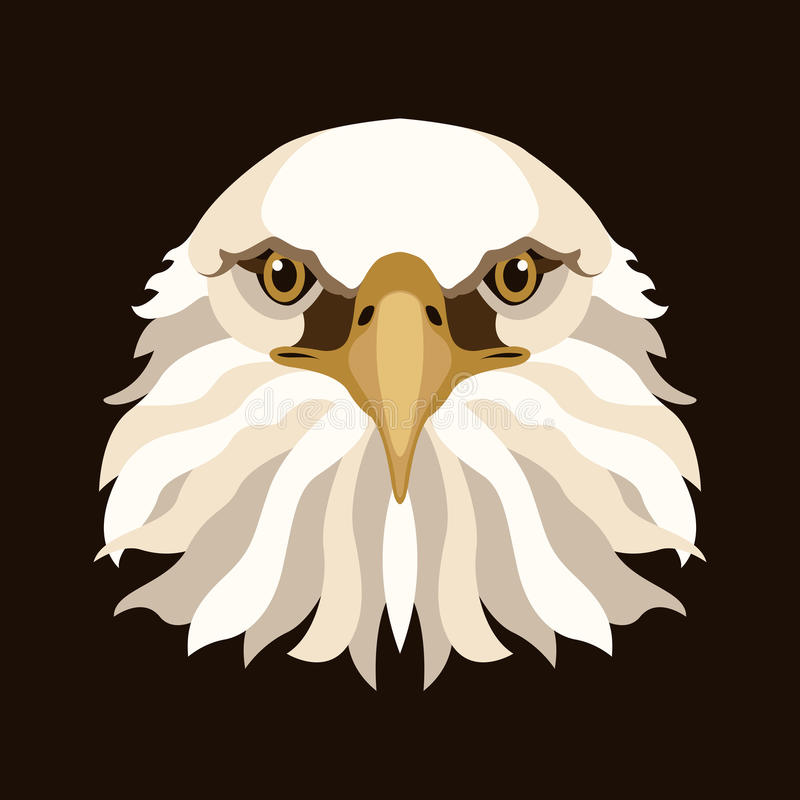 Eagle-Kopfgesichtsvektor-Illustrationsart flach stock abbildung
