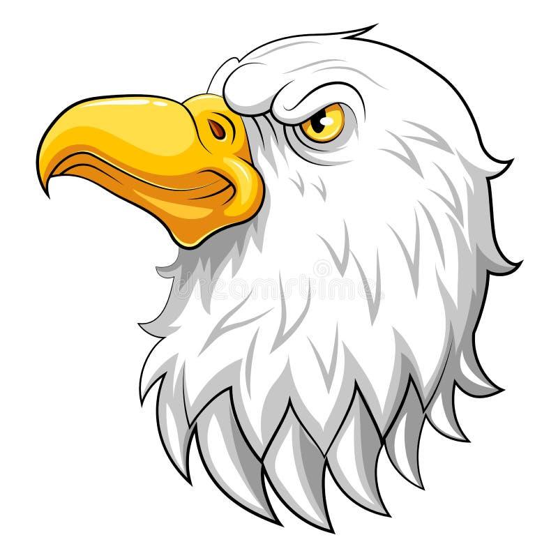 Eagle-Kopfmaskottchen auf einem weißen Hintergrund lizenzfreie abbildung