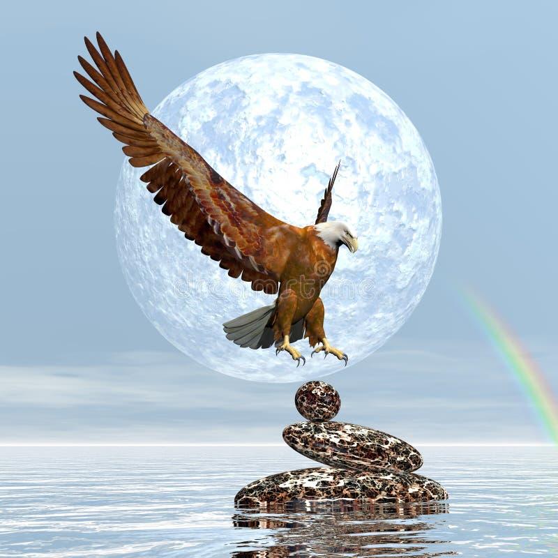 Eagle landning på allsidiga stenar - 3D framför royaltyfri illustrationer