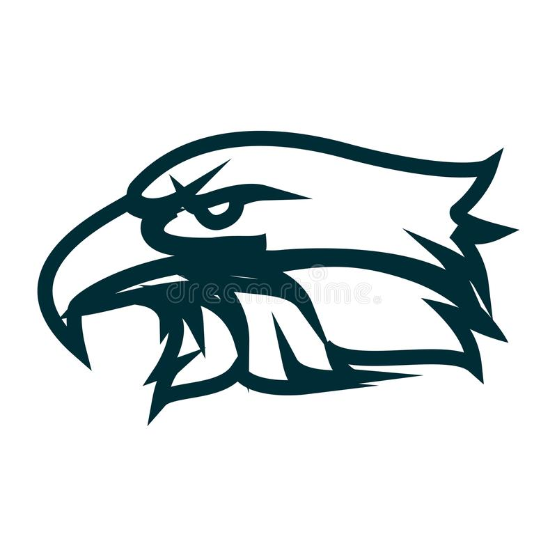 Eagle line art logo design. Eagle head outline vector illustration. Eagle head minimalist icon design. Vector line art with eagle head theme royalty free illustration