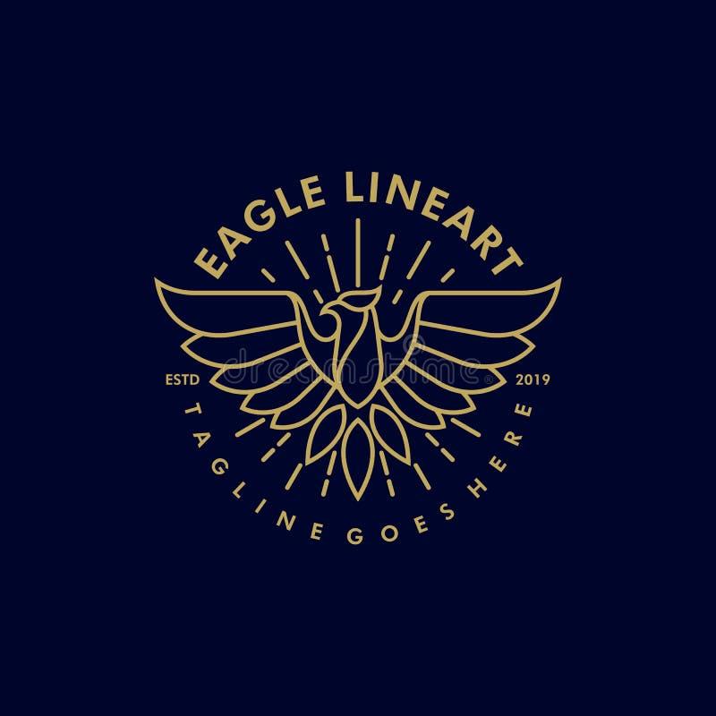 Eagle Line-Vectormalplaatje van de kunst het Uitstekende Illustratie stock illustratie