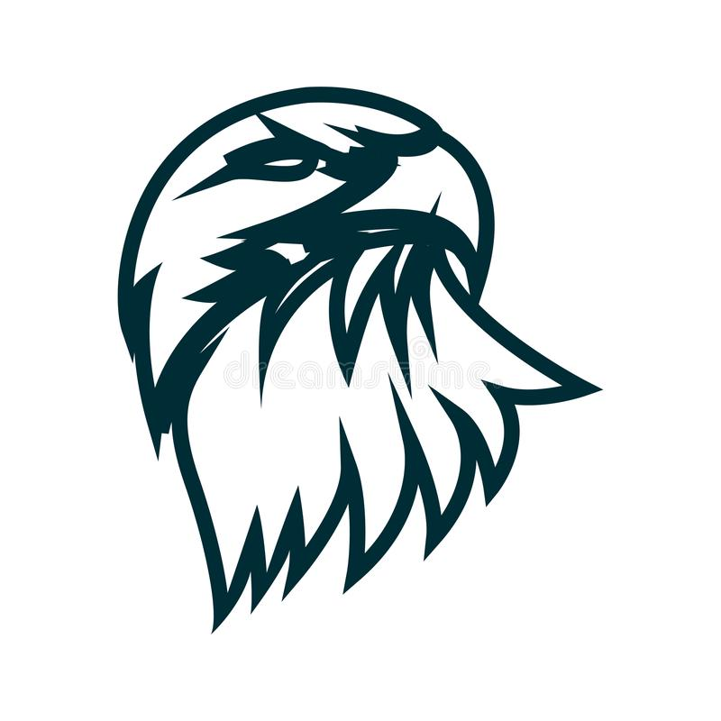 Eagle-Linie Kunstlogoentwurf Eagle-Kopfentwurfs-Vektorillustration Unbedeutender Ikonenentwurf Eagle-Kopfes stock abbildung