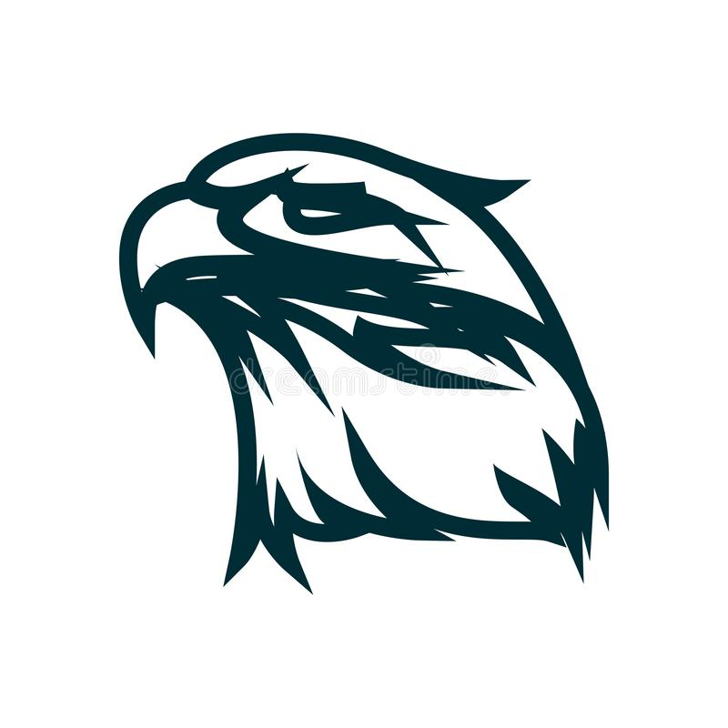 Eagle linje konstlogodesign Illustration f?r vektor f?r Eagle huvud?versikt Design för symbol för Eagle huvud minimalist royaltyfri illustrationer