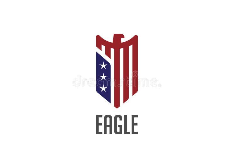 Eagle loga abstrakcjonistycznego projekta wektorowa osłona jastrząbek ilustracji