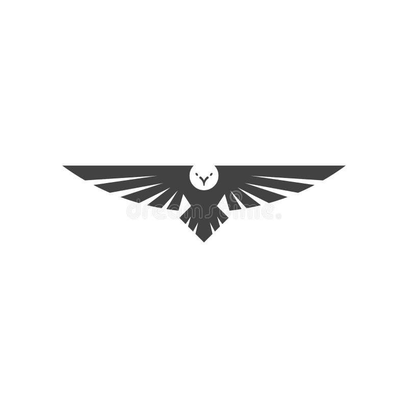 Eagle-Logo, breite Spannweite Schattenbilddes raubfalke-Vogels, die in die Luft, Fliegentiertätowierungs-Emblemmodell schwimmt stock abbildung