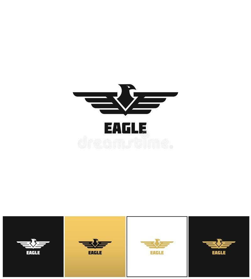 Eagle logo eller symbol för falkemblemvektor royaltyfri illustrationer