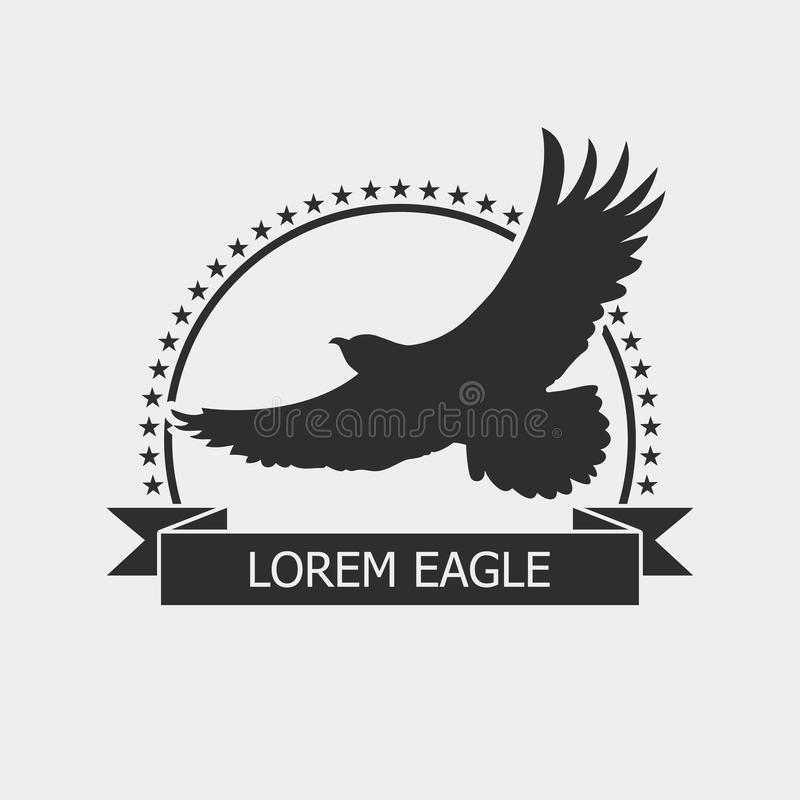 Eagle logo. Emblem template with bird, stars and ribbon. Vector. stock illustration