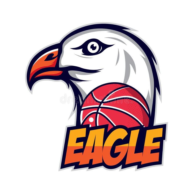 Eagle logo för en basketlag stock illustrationer