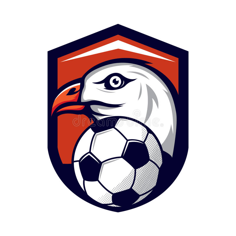 Eagle logo för ett fotbolllag vektor illustrationer