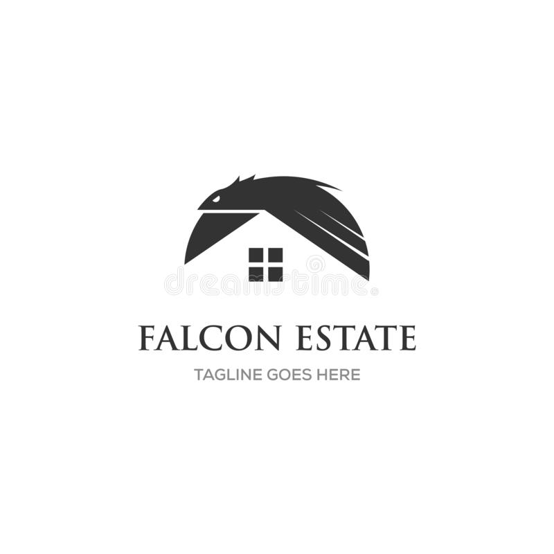 Eagle logodesign med fastigheten/hem- symbol stock illustrationer