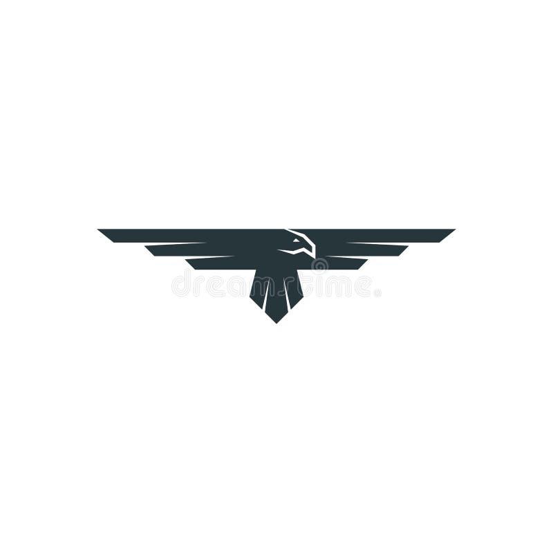 Eagle logomodell, rovdjurs- fågelvingkontur, beståndsdel för flygemblemdesign royaltyfri illustrationer