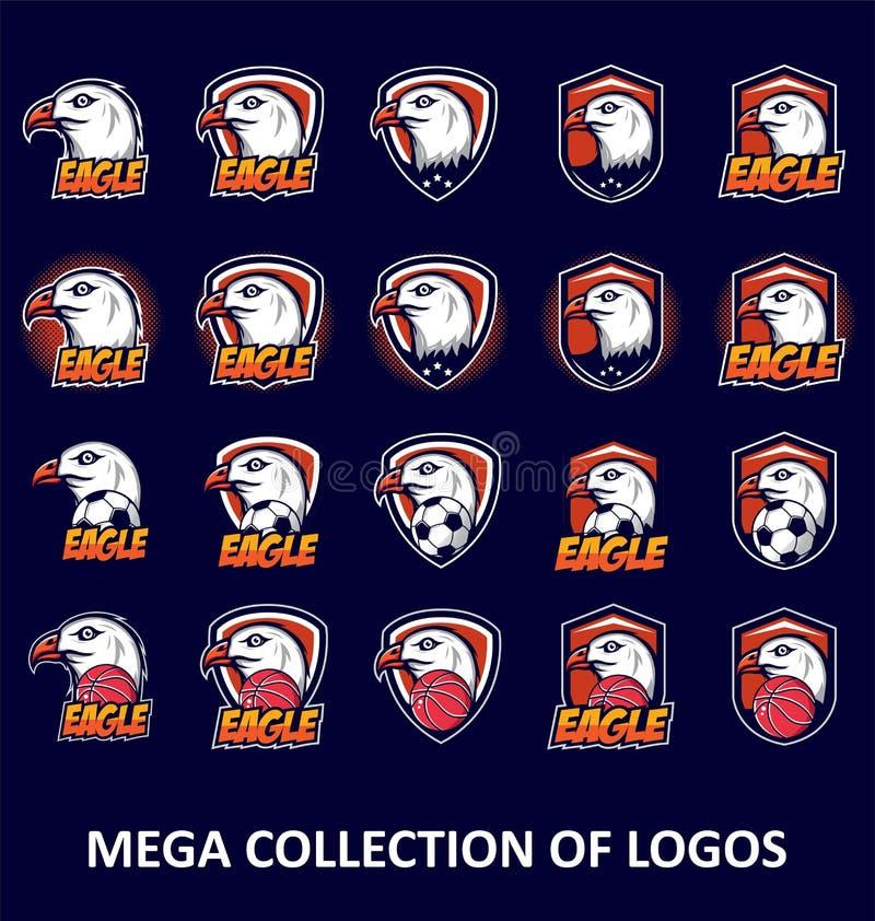 Eagle Logos Placez de 20 insignes d'aigle pour vos affaires Calibres de conception moderne pour votre sport collectif illustration stock