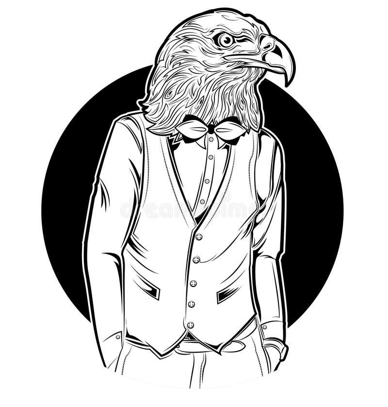 Eagle Man Hipster Style stock de ilustración