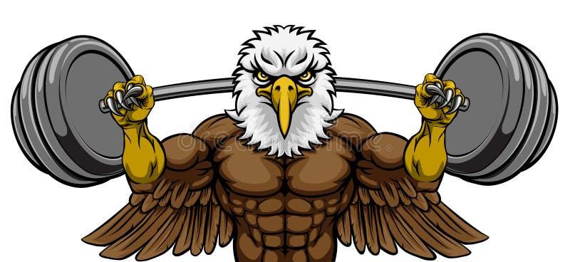 Eagle Mascot Weight Lifting Barbell-Bodybuilder stock abbildung