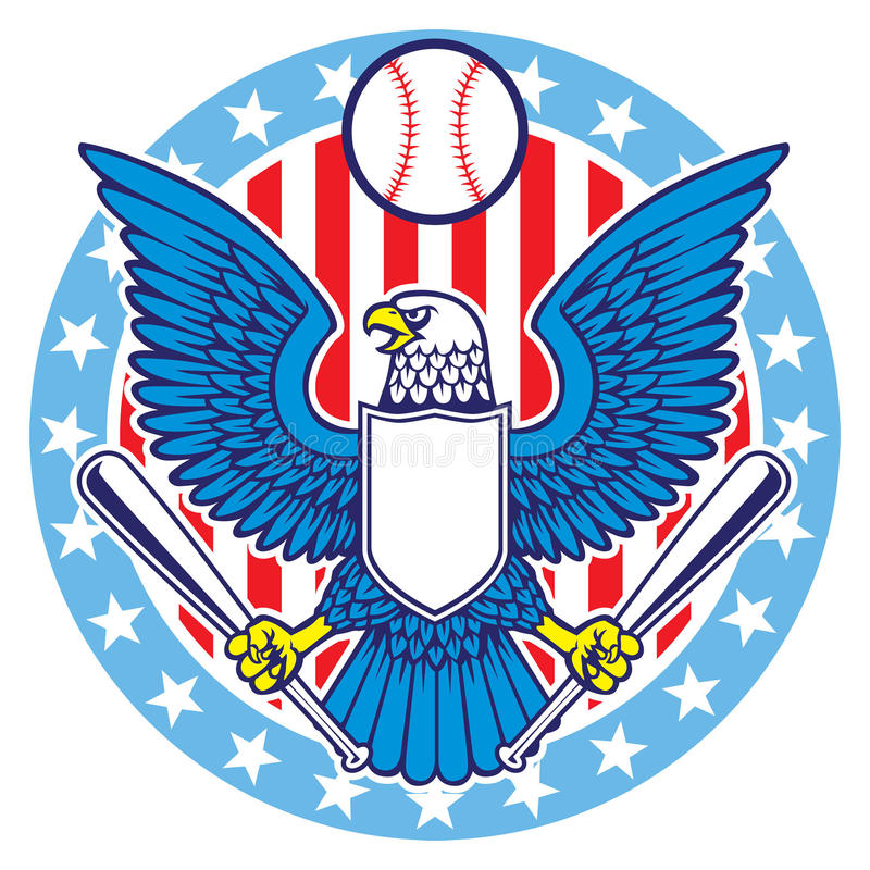 Eagle maskot av baseball royaltyfri illustrationer