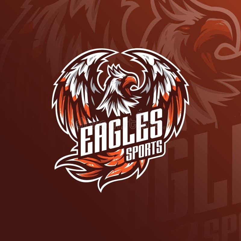 Eagle maskotki logo wektorowy projekt z nowożytnym ilustracyjnym pojęcie stylem dla odznaki, emblemata i tshirt druku, Gniewny or ilustracji