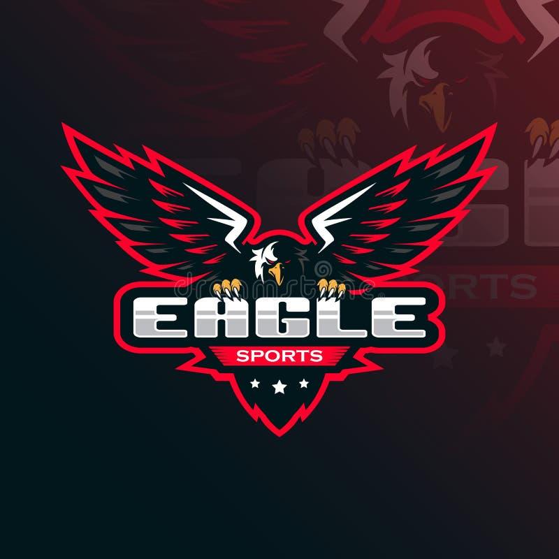 Eagle maskotki logo wektorowy projekt z nowożytnym ilustracyjnym pojęcie stylem dla odznaki, emblemata i tshirt druku, Eagle ilus royalty ilustracja