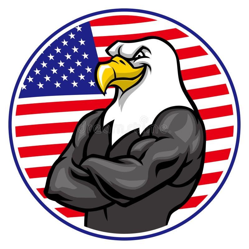 Eagle maskotki przedstawienie mięsień z flaga amerykańskiej tłem ilustracji