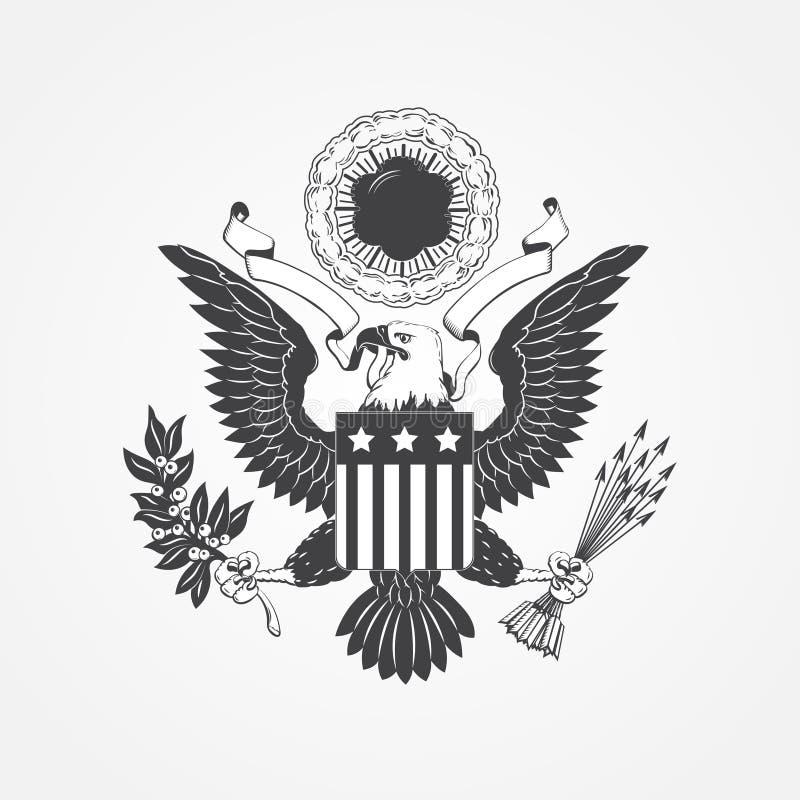 Eagle med skölden Typografiska etiketter, klistermärkear, logoer och emblem stock illustrationer