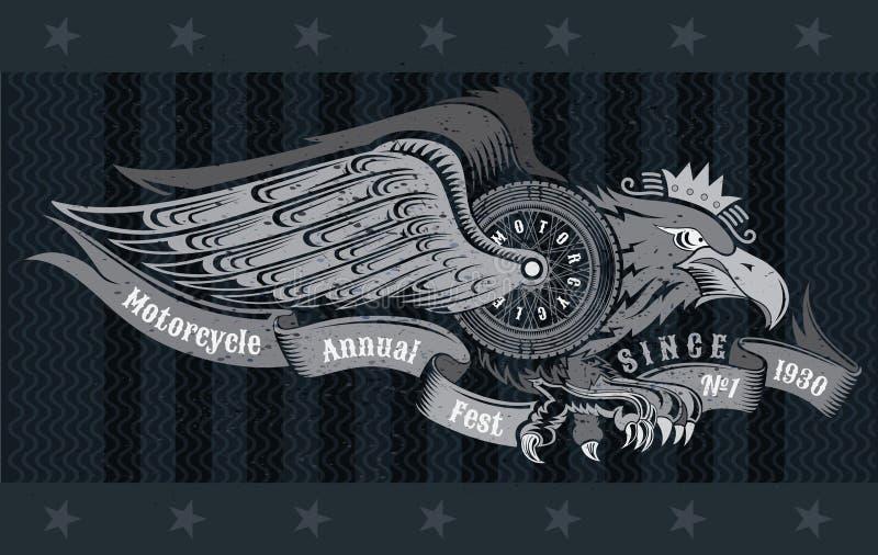Eagle med vingar och bandet för mopedhjulvingar Tappningmotorcykeldesign på svart vektor illustrationer