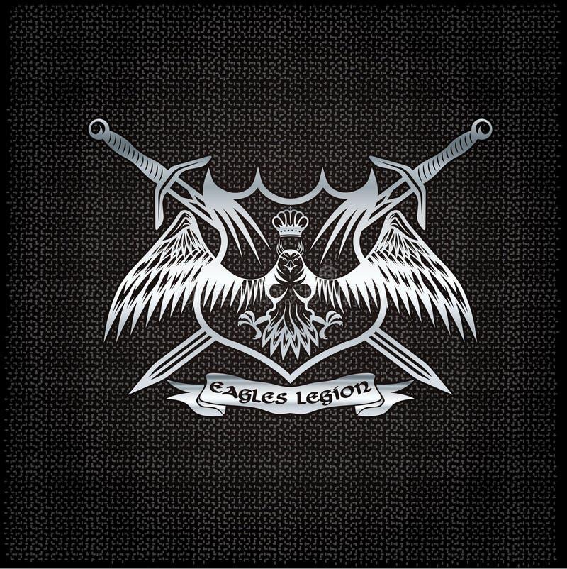 Eagle mit Krone und Klingen erklimmen auf Metallhintergrund stock abbildung