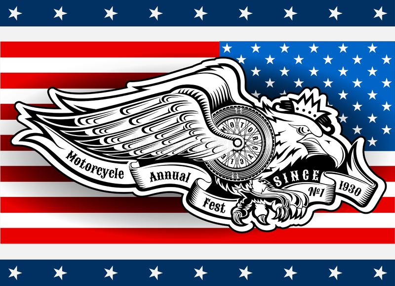 Eagle with motorbike wheel with wings and ribbon on stars and stripes background. Vintage motorcycle design on white. Eagle with motorbike wheel with wings and vector illustration
