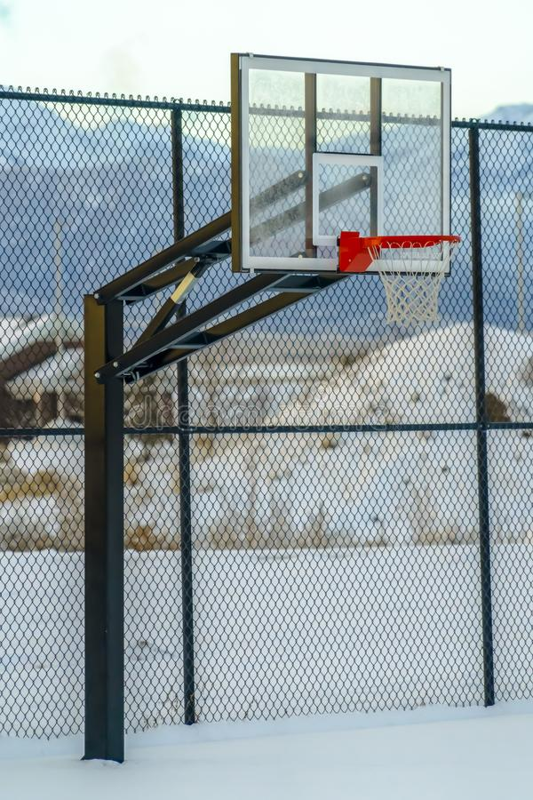 Eagle Mountain Utah basketball court in winter stock images