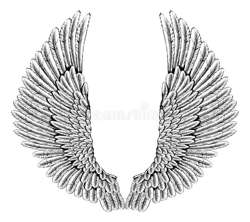 Eagle o alas del ángel stock de ilustración