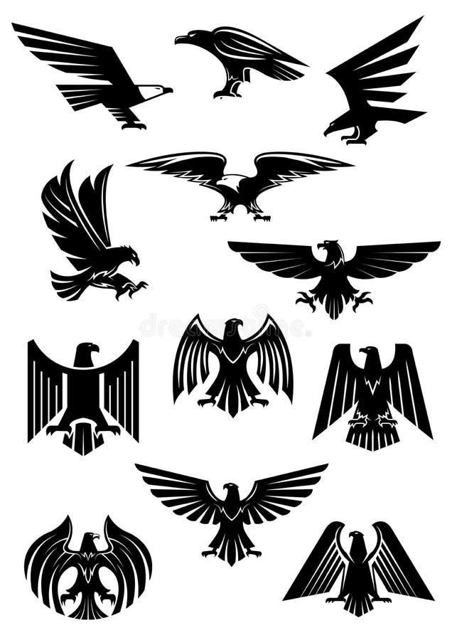 Eagle o distintivo araldico del falco, di L'Aquila o del falco illustrazione di stock