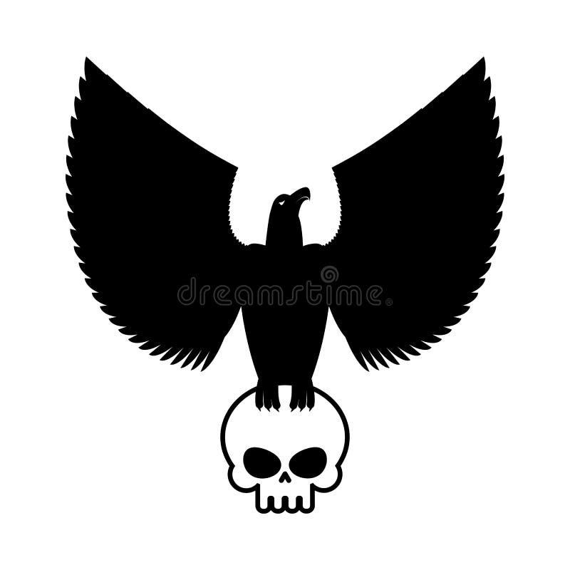 Eagle och skallemall för emblem Höklogo Vektorillustrat vektor illustrationer