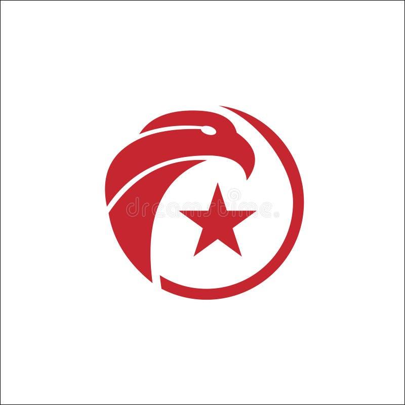 Eagle okrąg z gwiazdowym Wektorowym logo szablonem royalty ilustracja