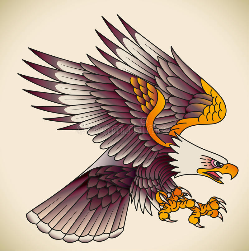 Eagle old-school tattoo. Bald eagle attacking. Old-school tattoo design. Editable vector illustration royalty free illustration