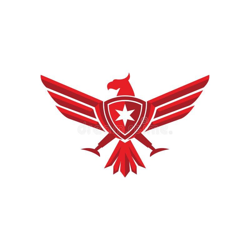 Eagle osłony loga wektoru ilustracja obraz stock