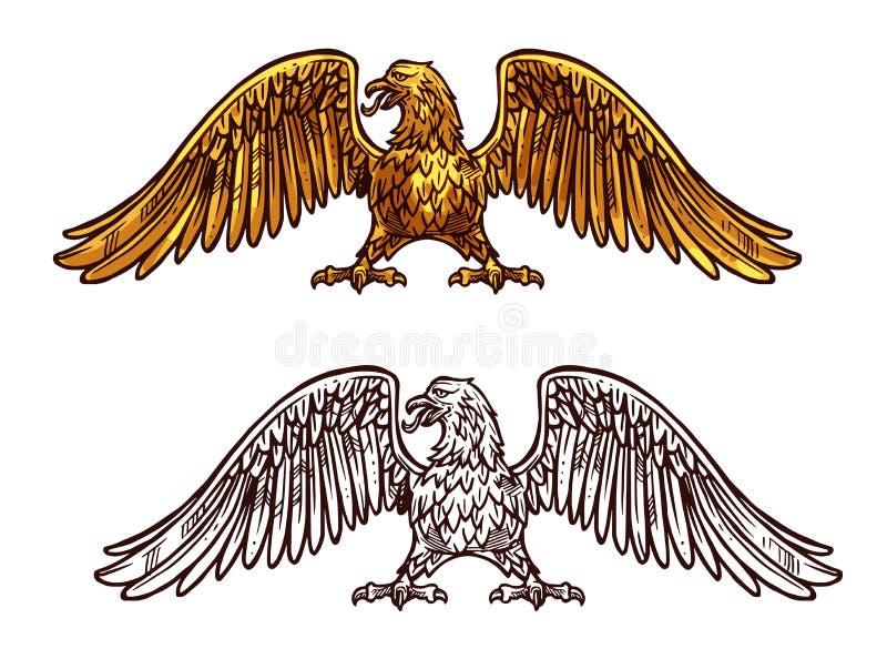 Eagle ou icône d'or de faucon, croquis de vecteur illustration stock