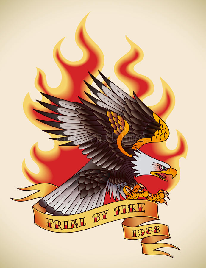 Eagle-oud-schooltatoegering stock illustratie